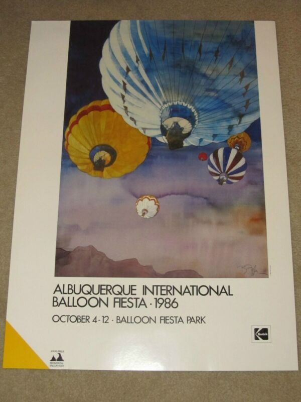 1986 KODAK ALBUQUERQUE INTERNATIONAL BALLOON FIESTA POSTER~MINT~VINTAGE!