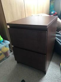 Malm brown two draw bedside table IKEA