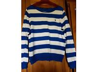 Blue and white striped ralph lauren jumper