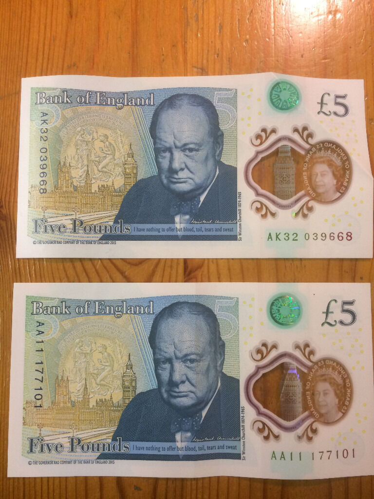 'New Five Pound Notes' ....., Very nice No's..., Make Me An Offer !