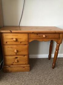 Solid Pine Dressing Table Desk - 4 drawers