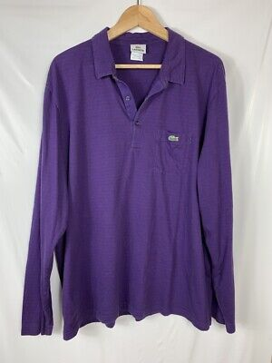 Lacoste Men's Purple Collared 1/4 Button Long Sleeve Shirt Size 8