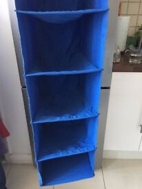6 Tier Blue Hanging Pocket Storage Bag Rack Cloth Wardrobe Organiser