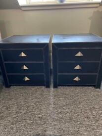 Pair of Black Genuine Leather Bedside Chest of Drawers