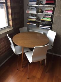 Vintage round timber table + 4 white chairs