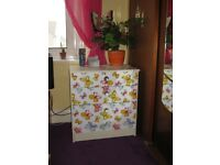COOL UPCYCLED CHEST OF DRAWER( with fablon) OR KIDS SCHOOL DESK. CHAIR NOT FOR SALE. FISHPONDS. BS16