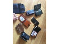 7x Real leather wallets and 1 Real leather sunglasses cover