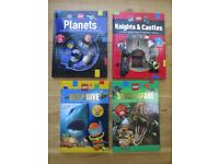 BRAND NEW 4 x LEGO hard-back non-fiction reader books (with stickers)