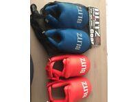 Blitz kids foot protectors and belts (Karate)