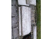Concrete cope stones to top garden walls, sloped, weathered white