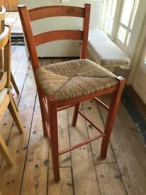 High Chair or Bar Stool in Orange Wood with Straw seat