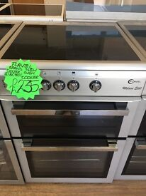 FLAVEL 60CM WIDE CEROMIC TOP ELECTRIC COOKER IN LIGHT SILIVER