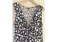 Hobbs Size 14 Ladies Jersey Maxi Dress Black and White