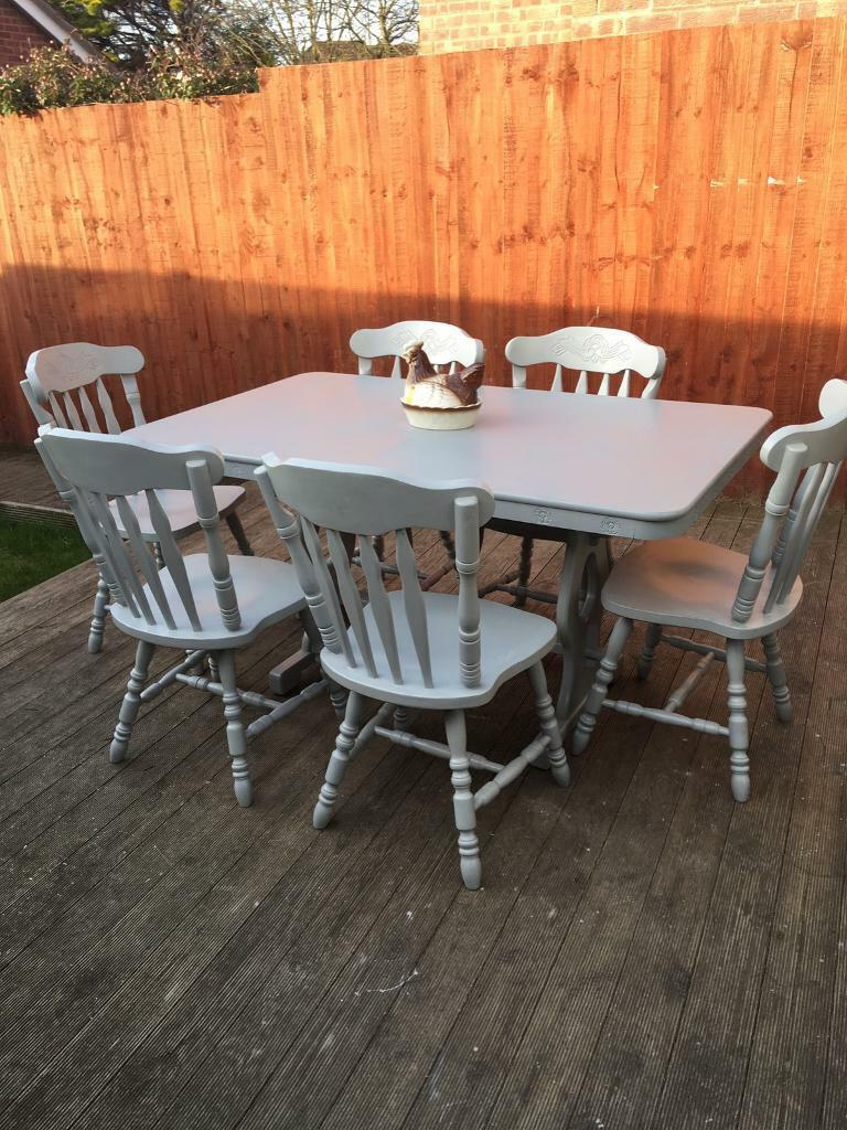 Hand painted rustic farmhouse dining table & 6 chairs bargain can delive