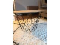 Large wire basket coffee storage table- black with wooden lid . A Bargain!