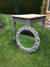 Pine Hall Table/Dressing Table and Mirror