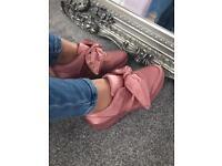 BNIB pink satin bow trainers sizes 3,4,7,8