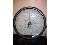 Full front wheel for bike 700c alloy hub and Alexrims DA16 rim complete with tape, tyre and tube