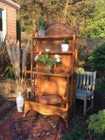 Vintage Retro Tiki Ornate Bamboo Rattan Glass Top x 4 Shelves Freestanding Unit Storage Display