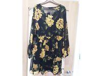 Papaya Black/Mustard Chiffon Dress Size 16