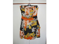 Orange patterned strapless puff-ball dress by AX Paris – size 8 – worn once/as new