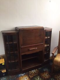 Vintage display unit with bureau