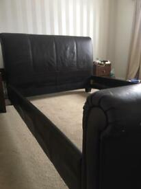 Faux leather brown sleigh king size