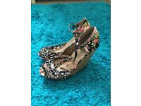 Black and Pink Flower Heels Size 5