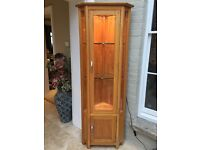 Solid Oak Glazed Corner Display Cabinet