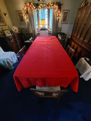 Linen Red Table Cloth Beautiful Christmas Academy Award Movie Party 120 x 59