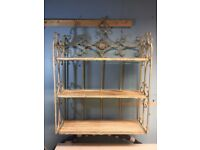 French style foldable kitchen/livingroom shelving unit painted in cream.