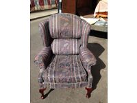 HIGH BACK CLUB CHAIR / FIRESIDE CHAIR IN EXCELLENT CONDITION VERY NICE ITEM FREE LOCAL DELIVERY