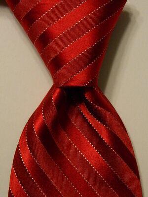 """IKE BEHAR Men's 100% Silk XL 62 1/4"""" Necktie USA Designer STRIPED Red/White GUC"""