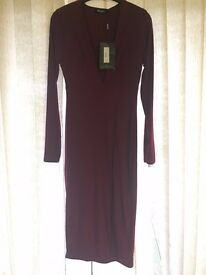 BNWT Missguided long sleeve midi burgundy dress