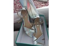 Silver flat wedge sandals Uk 6