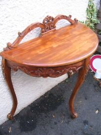 Demi lune crescent shaped console side hall table sofa table hallway table half moon shabby chic