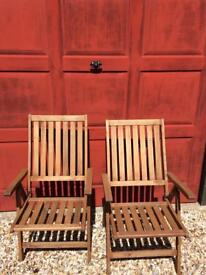 Reclining teak chairs