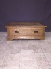 Rustic Solid Oak 1 Drawer Coffee Table Living Room Lounge Furniture