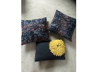 3 cushions for your home , Riva home scribble grey and yellow flower