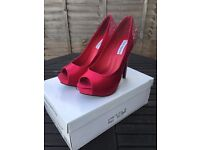 Steve Madden Red satin with sparkling heel