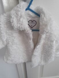 White/cream faux fur jacket 3-6months M&S