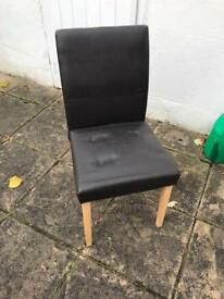 Brown leatherette dining chairs