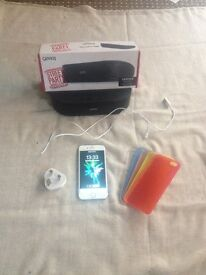 iPhone 6 unlocked with accessories and speaker