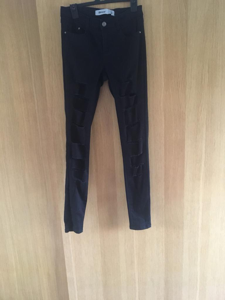 Ladies ripped skinny new look jeans black size 10
