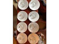 8 off centre Leonardo drinking glasses w saucers