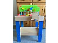 Kids toy wooden construction bench with tools (great condition)