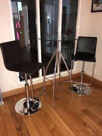 Glass bar stools