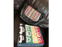 Mammas and papas cars baby blanket with a pram bag skip Hop lovely set