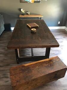 Handmade Barn Wood Harvest Table and Barn Beam Bench