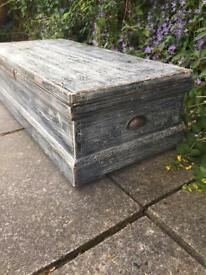 Wooden storage trunk distressed shabby chic wooden storage